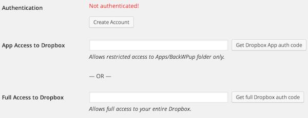 authenticate dropbox backwpup
