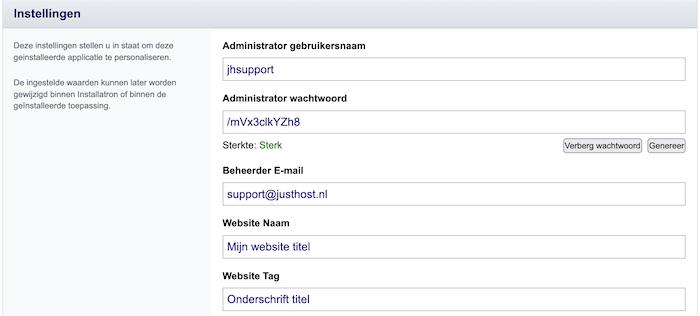 installatron login gegevens