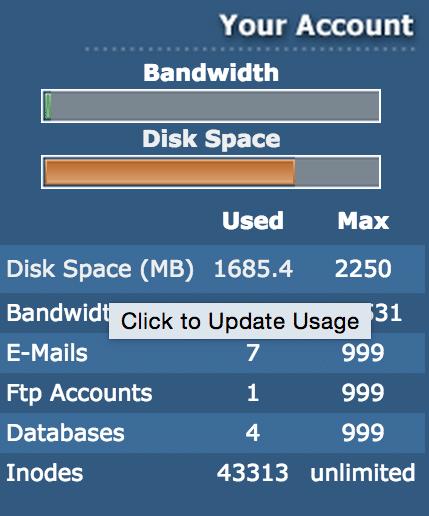 direcadmin disk space bijwerken
