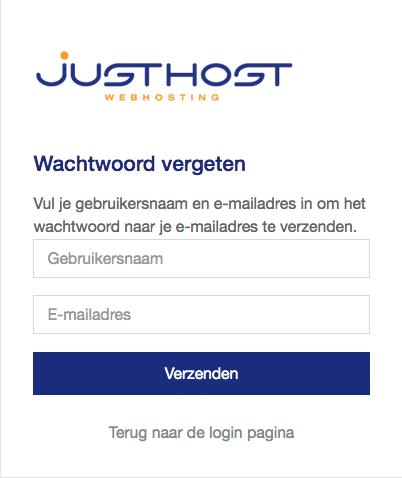 wachtwoord vergeten venster