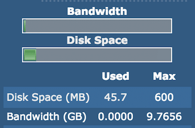 directadmin disk space