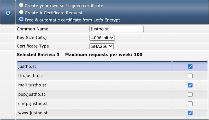 lets encrypt certificaat selecteren