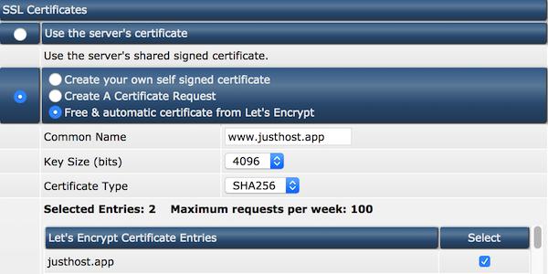 let's encrypt certificaat selecteren