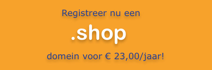 .shop domein registreren