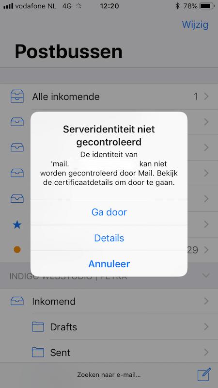 Serveridentiteit niet gecontroleerd