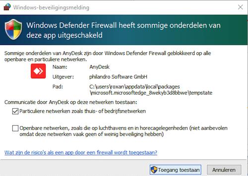 AnyDesk toegangsscherm