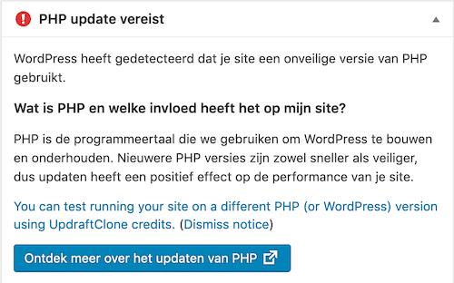 wordpress onveilige versie php