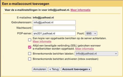 email instellingen gmail